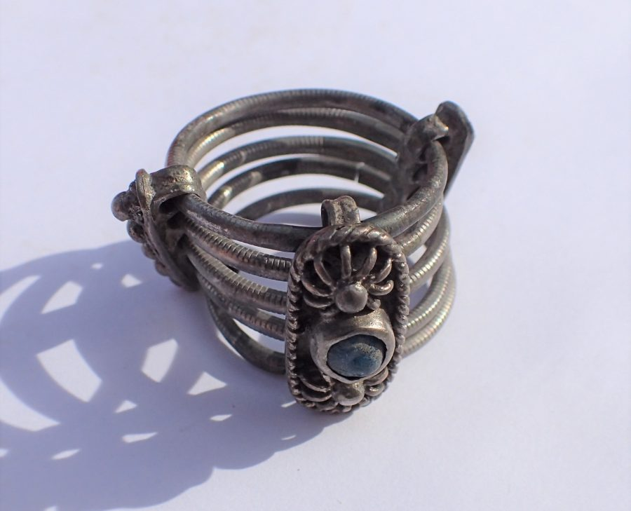 Ancient Roman silver ring. 21.5 mm. inner diameter, 17.6 gm. Five individual silver bands. Rare.