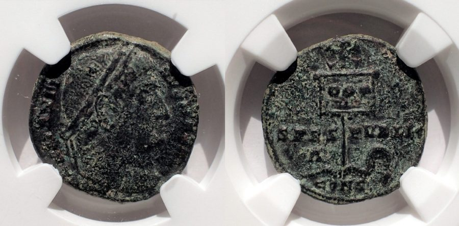 Constantine I the Great (AD 307-337). AE3. SPES-PVBLIC. Extremely Rare. NGC Choice VF.