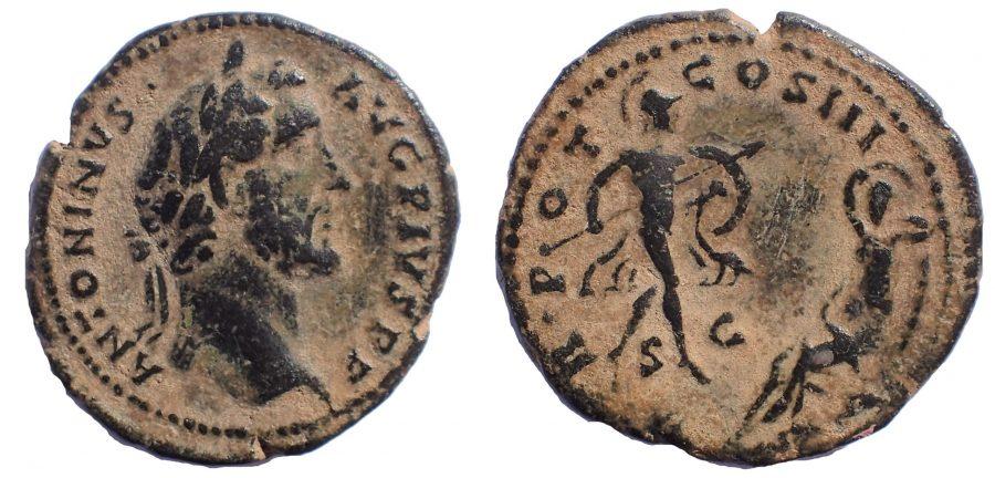 Antoninus Pius Æ As. Rome, AD 140. Mars and Rhea Silvia, Mother of Romulus and Remus. Rare.