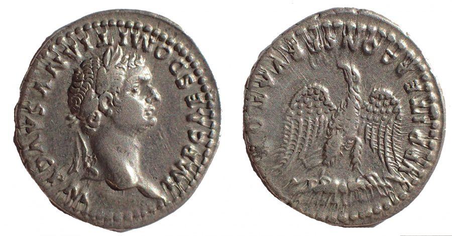 Domitian AR Denarius. Rome, AD 81-96. Rare.