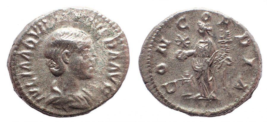 Aquilia Severa AD 220-222. Ar Denarius. Exceptionally heavy 4.1 gm. flan