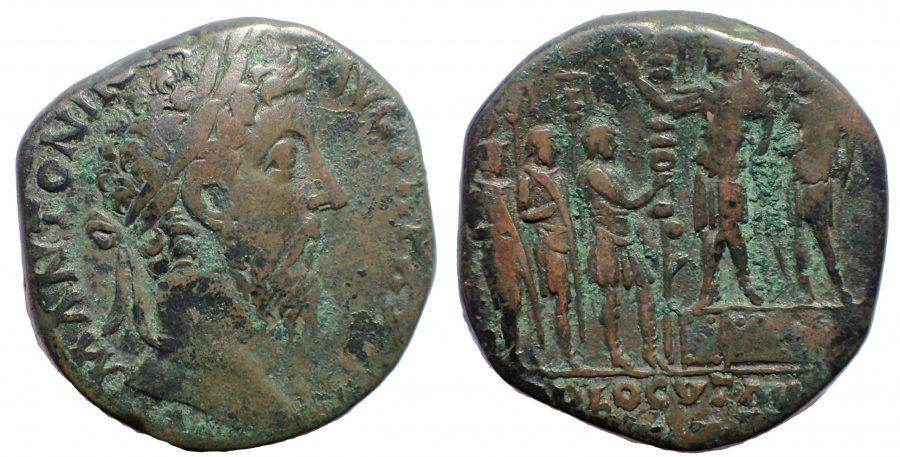 Marcus Aurelius, as Augustus (AD 161-180). AE sestertius. ADLOCVTIO. Rare.