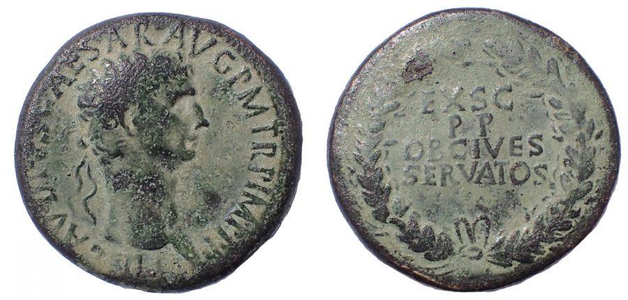 Claudius Æ Sestertius. Rome, AD 41-50. Ae 36