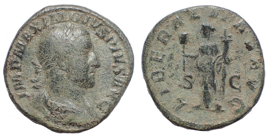 Maximinus I. AD 235-238. Æ Sestertius. Rome mint. Special emission for the consulship, AD 236