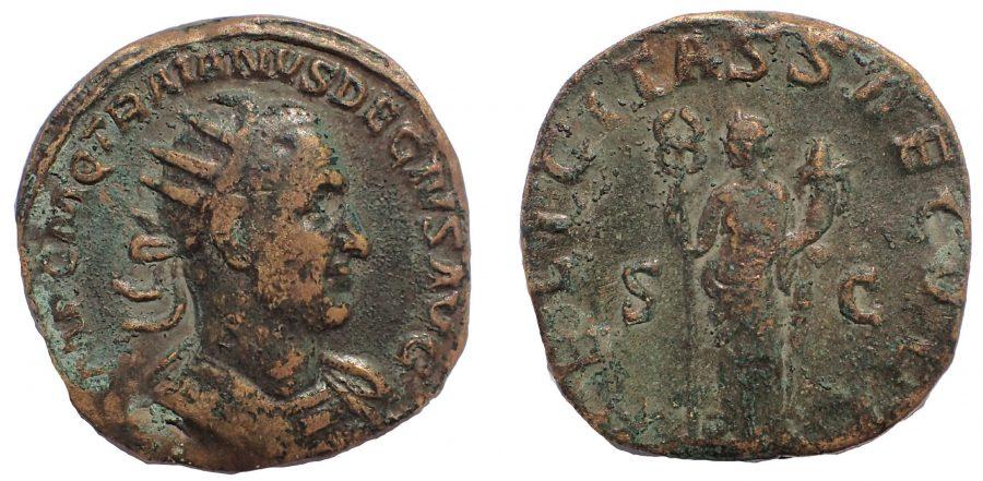 Trajan Decius Æ Double Sestertius. Rome, AD 249-251. Ae 34. Rare.