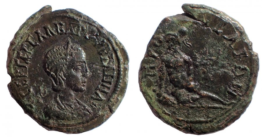 Orbiana Æ24 of Prusa ad Olympum, Bithynia. Circa 222-235. Suicide of Ajax. Finest of two known.