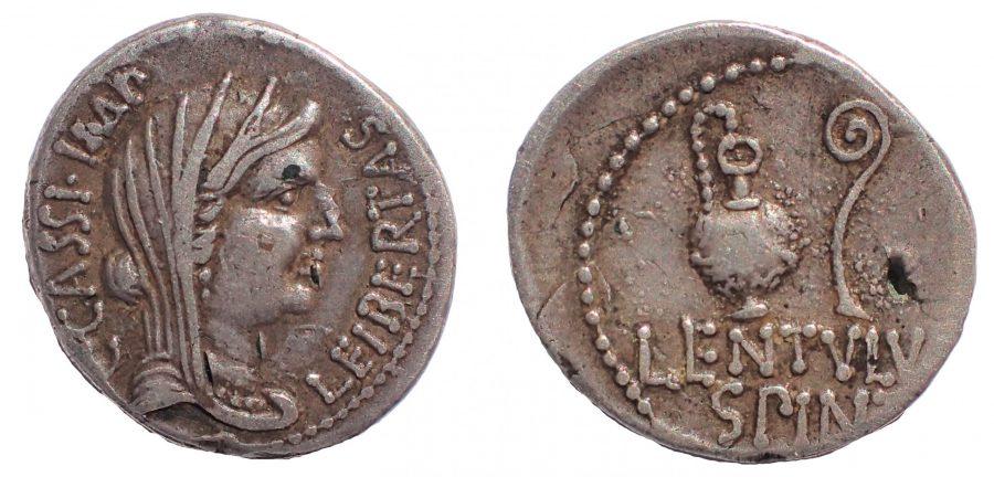 C. Cassius Longinus. Ar. Denarius (42 BC). Caesar's assassin. Rare.